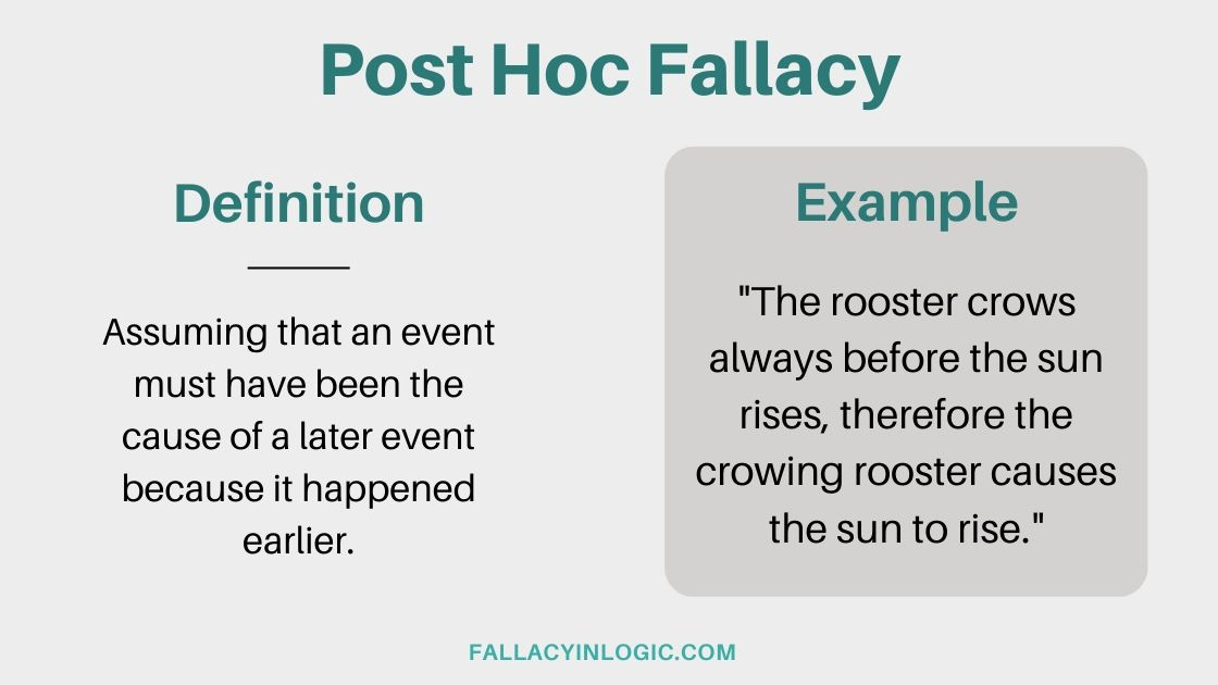 Post Hoc Fallacy - Definition and Examples - Fallacy In Logic